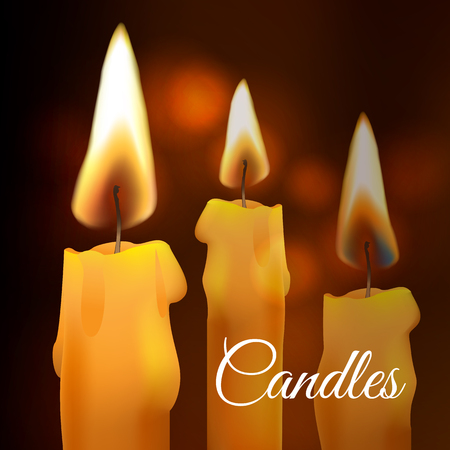 Vector realistic flame. Wax church Candle on dark background. Light effect Illustration