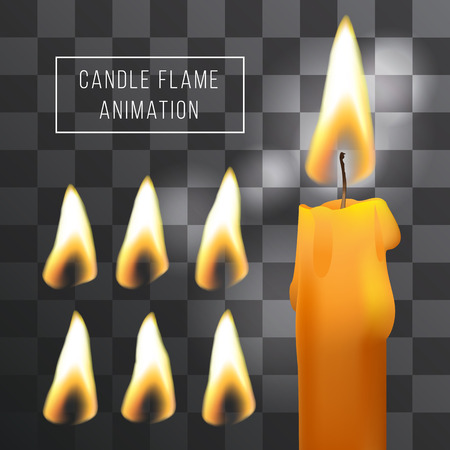 Vector wax candle flame animation on transparent background. Fire light effect. Gradient mesh for designer Çizim