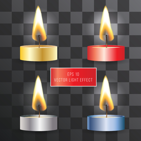 glaring: Vector realistic flame. Candle set on transparent background. Tea and wax candles. Light effect Illustration