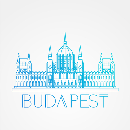 Hungarian Parliament Building also known as House of the Country and House of the Nation. Vector linear Icon for travel agency. Illustration