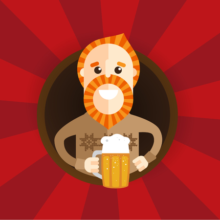 Its Friday vector concept, Businessman drinking beer with man on monday. Cartoon charackter for restaurant bar. Illustration