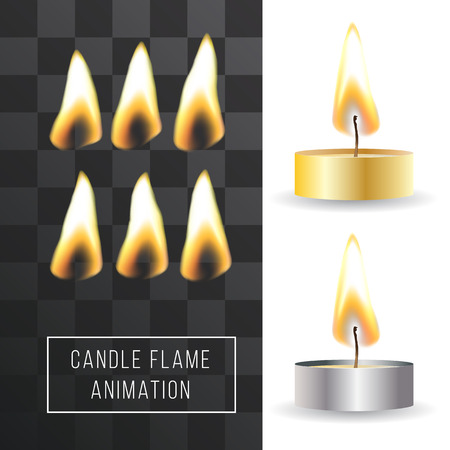 Vector wax candle flame animation on transparent background. Fire light effect. Gradient mesh for designer Illustration