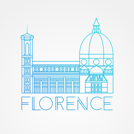 The Cattedrale di Santa Maria del Fiore - The symbol of Italy, Florence. Modern linear style. One line concept.