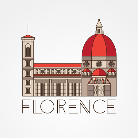 The Cattedrale di Santa Maria del Fiore - The symbol of Italy, Florence. Modern linear style. Colorfull one line concept.