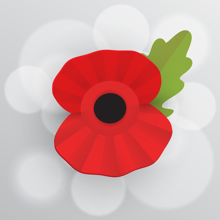 The remembrance poppy - poppy appeal. Decorative vector flower for Remembrance Day, Memorial Day, Armistice Day