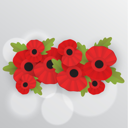 The remembrance poppy - poppy appeal. Decorative frame for Remembrance Day, Memorial Day, Armistice Day.