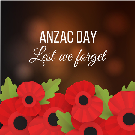 Decorative papper poppy for Anzac Day is a national day of remembrance in Australia and New Zealand. Lest we forget. Illustration