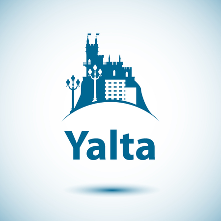 Vector city skyline with landmarks Yalta, Crimea, Russia. Vector illustration can be used as logo