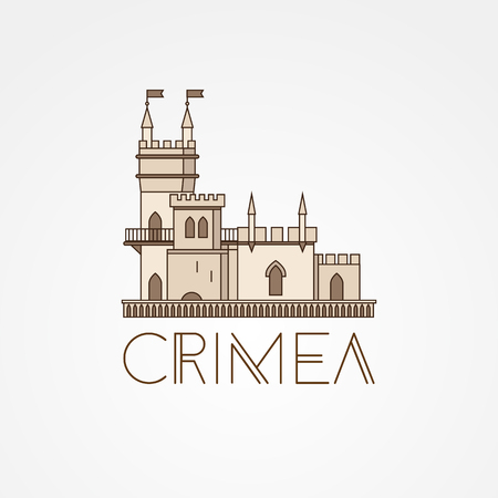 Vector linear symbol of Crimea.. The castle Swallows Nest near Yalta, Ukraine - Russia. Editable stroke.