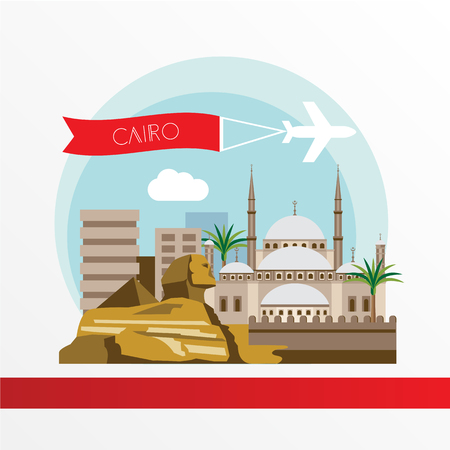 Cairo detailed silhouette. Trendy stylish colorful landmarks. The concept for a web banner. Citadel, Sphinx, pyramids The symbols of Egypt.