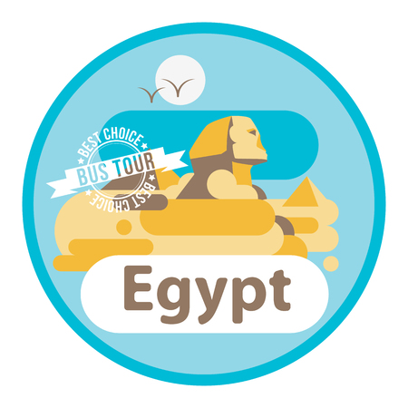 oasis: Pyramid and Sphinx The symbols of Cairo. Welcome to Egypt concept. Flat vector art. Round composition. Illustration