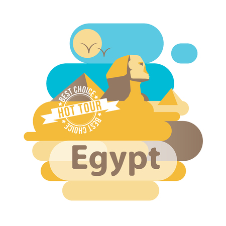 Pyramid and Sphinx The symbols of Cairo. Welcome to Egypt concept. Flat vector art. Round composition. Illustration