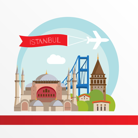 Istanbul detailed silhouette. Trendy stylish colorful landmarks. The concept for a web banner. Hagia Sophia the symbol of Turkey