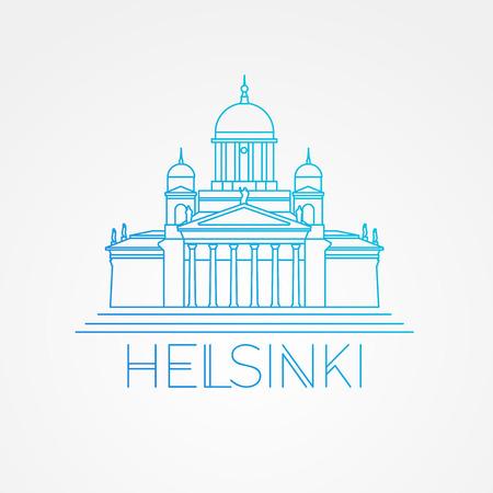헬싱키 대성당 상세한 그림입니다. 선형 스타일. 헬싱키의 상징입니다. 핀란드. 여행사를위한 아이콘.