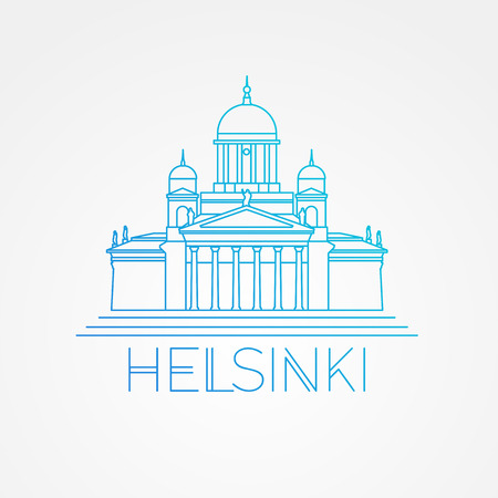 Helsinki cathedral detailed illustration. Linear style. Symbol of Helsinki. Finland. Icon for travel agency. Çizim