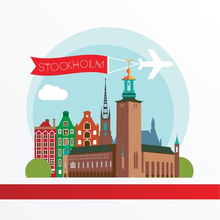 スウェーデンのストックホルム。都市のスカイラインのシルエット。ベクトルの図。旅行代理店のアイコン  イラスト・ベクター素材