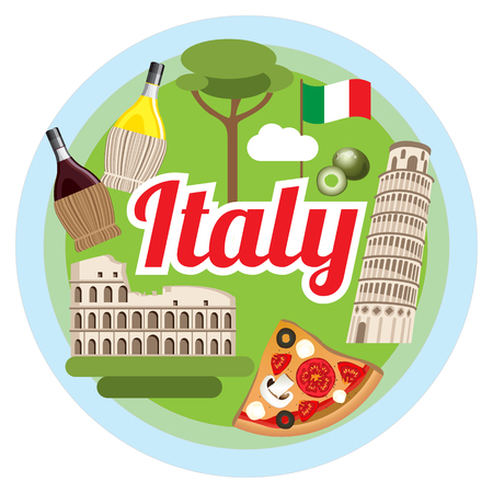 Love Italy concept. Round composition with greatest symbols.Infographic design.