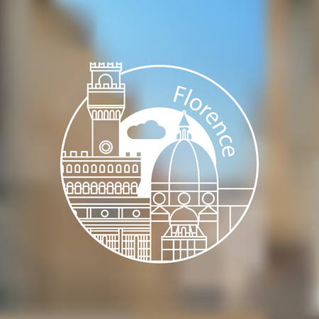 Florence, Italy. Linear illustration on blurred background.