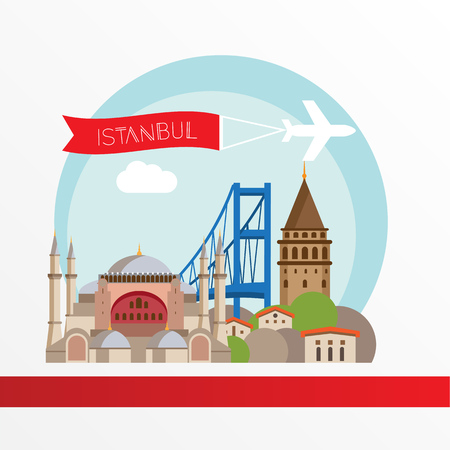 Istanbul, Turkey. Detailed city skyline. Greatest landmarks.