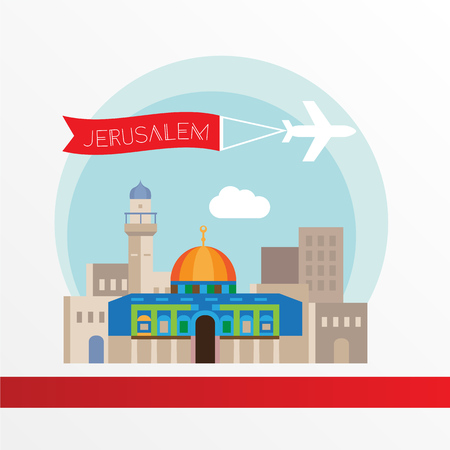 Jerusalem detailed silhouette. Trendy stylish colorful landmarks. The concept for a web banner. Dome of the Rock, Islamic shrine - The symbol of Israelis