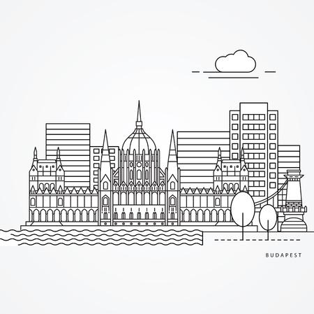 Budapest landmark Illustration Иллюстрация