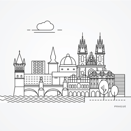 Linear illustration of Prague, Czech Republic. Flat one line style. Trendy vector illustration. Architecture line cityscape with famous landmarks, city sights, design icons. Editable strokes.