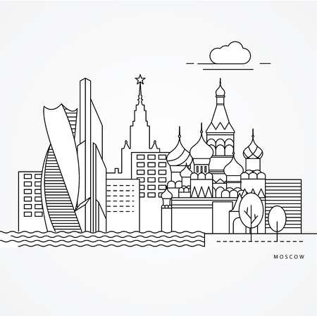 Linear illustration of Moscow, Russia. Flat one line style. Trendy vector illustration. Architecture line cityscape with famous landmarks, city sights, design icons. Editable strokes.