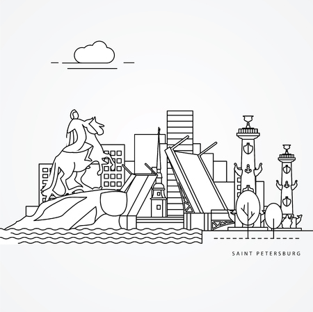 Linear illustration of Saint Petersburg, Russia. Flat one line style. Trendy vector illustration. Architecture line cityscape with famous landmarks, city sights, design icons. Editable strokes Illustration
