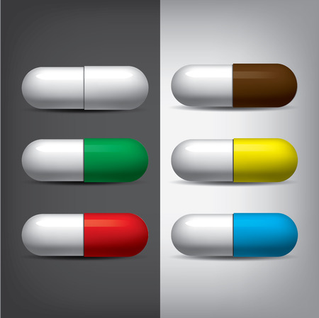 Medical pills set. Realistic mesh vector. Colorfull mock-up Çizim