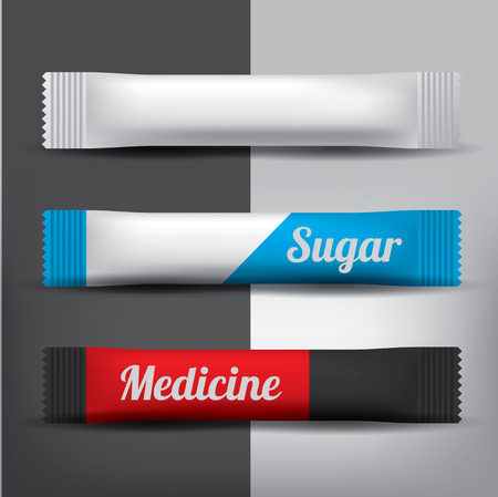 Foil or paper Packaging Stick for Coffee, Salt, Sugar, Pepper Or Spices. Realistic mesh vector mockup.