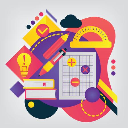 Back to school concept. Mathematics. Illustration