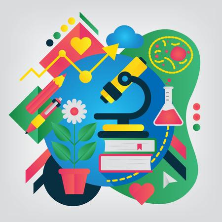 Back to school concept. Biology. Illustration