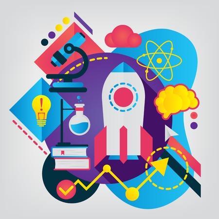Science modern flat illustration. Vector geometry business concept for Web banner or mobile app.