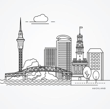Illustrazione lineare di Auckland, Nuova Zelanda.
