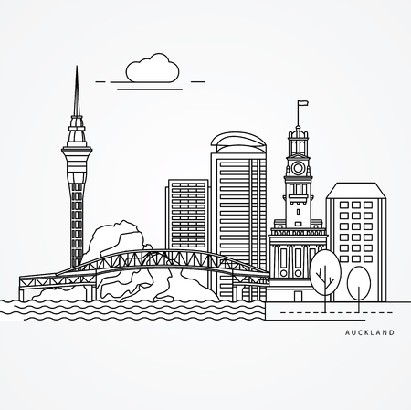 Linear illustration of Auckland, New Zealand.