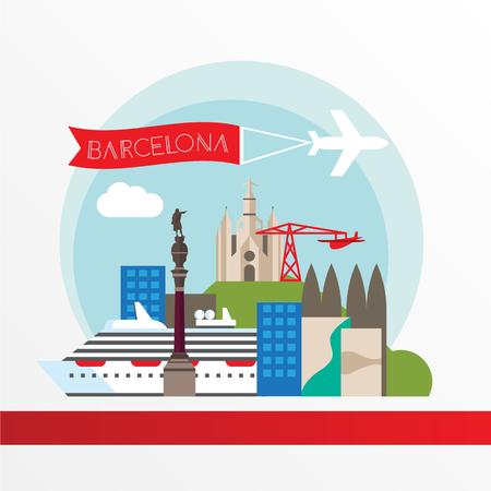 Barcelona detailed silhouette. Trendy vector illustration, flat style Illustration