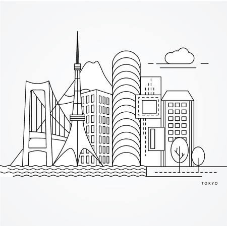 Linear illustration of Tokyo, Japan. Flat one line style. Trendy vector illustration. Architecture line cityscape with famous landmarks, city sights, design icons. Editable strokes Imagens - 114725496
