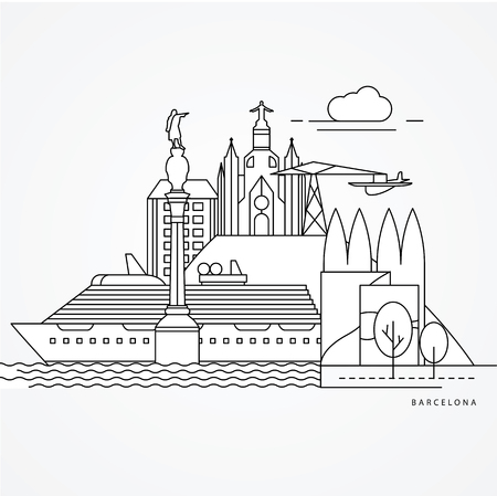 Linear illustration of Barcelona, Spain. Flat one line style