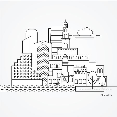 Linear illustration of Tel Aviv, Israel. Flat one line style. Trendy vector illustration. Architecture line cityscape with famous landmarks, city sights, design icons. Editable strokes