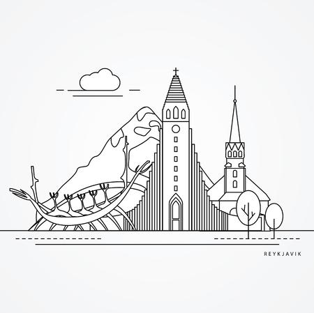 Linear illustration of Reykjavik, Iceland. Flat one line style.