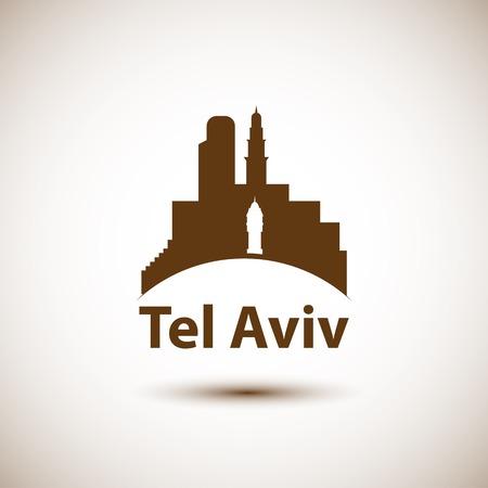 Tel Aviv, detailed silhouette.