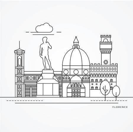 Illustrazione lineare di Firenze, Italia. Vettoriali