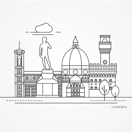 Linear illustration of Florence, Italy.