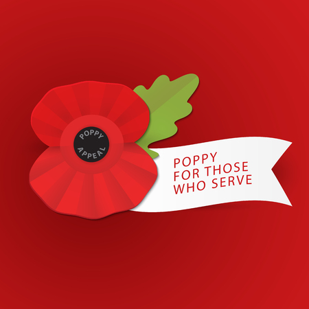 The remembrance poppy - poppy appeal. Modern paper design . Decorative vector flower for Remembrance Day, Memorial Day, Anzac Day in New Zealand, Australia, Canada and Great Britain.