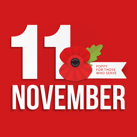 The remembrance poppy - poppy appeal. Modern paper design e. Decorative vector flower for Remembrance Day, Memorial Day, Anzac Day in New Zealand, Australia, Canada and Great Britain.