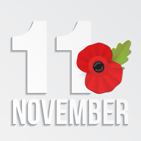 The remembrance poppy - poppy appeal. Modern paper design isolated on white. Decorative vector flower for Remembrance Day, Memorial Day, Anzac Day in New Zealand, Australia, Canada and Great Britain.  イラスト・ベクター素材