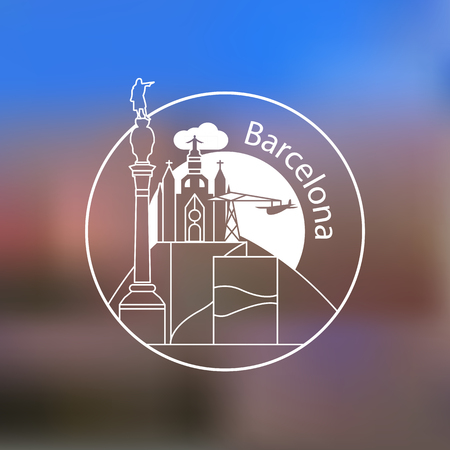 Modern linear round  on blurred background. One line travel identity concept. Barcelona Spain detailed silhouette. Trendy vector illustration, flat style. Stylish landmarks.  イラスト・ベクター素材