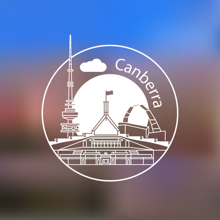 Modern linear round  on blurred background. One line travel identity concept. Canberra Australia  detailed silhouette. Trendy vector illustration, flat style. Stylish landmarks.