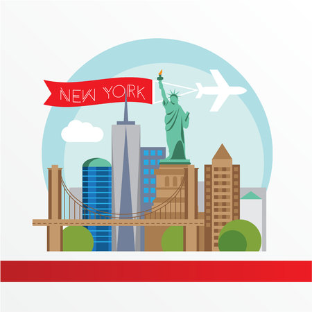 New York, detailed silhouette. Trendy vector illustration, flat style. Stylish colorful  landmarks. The concept for a web banner. Statue of Liberty - The symbol of USA.
