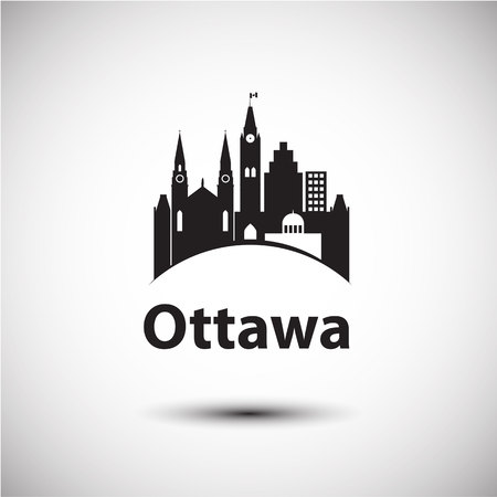 Vector city skyline with landmarks Ottawa Ontario Canada. Vector illustration can be used as logo Imagens - 119905446